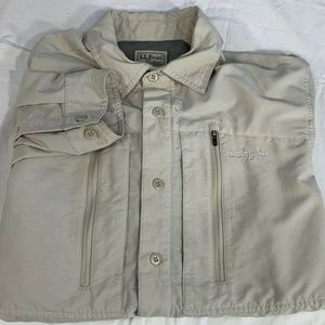 L.L. Bean Medium Mens Fishing Shirt Beige